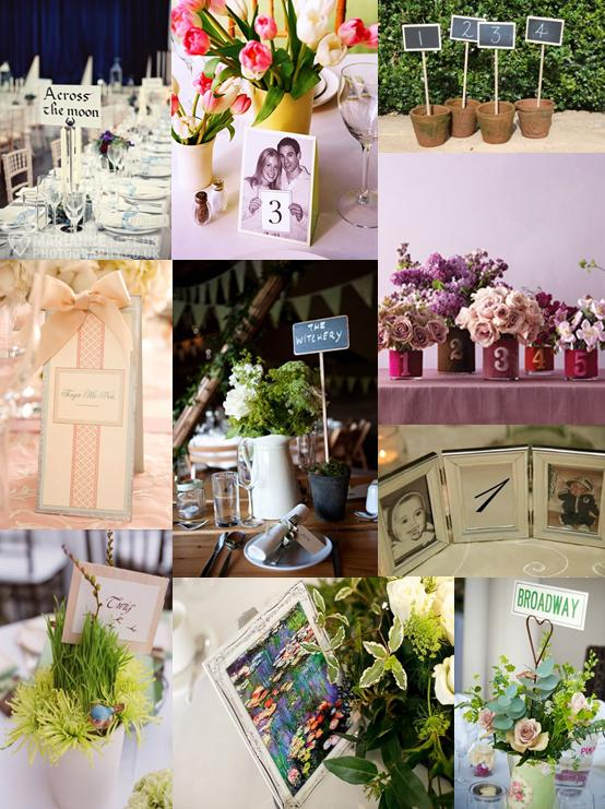 Wedding mood board showing different ideas for wedding table signs