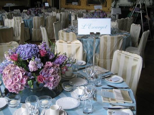 Wedding table display showing an idea for a wedding colour scheme