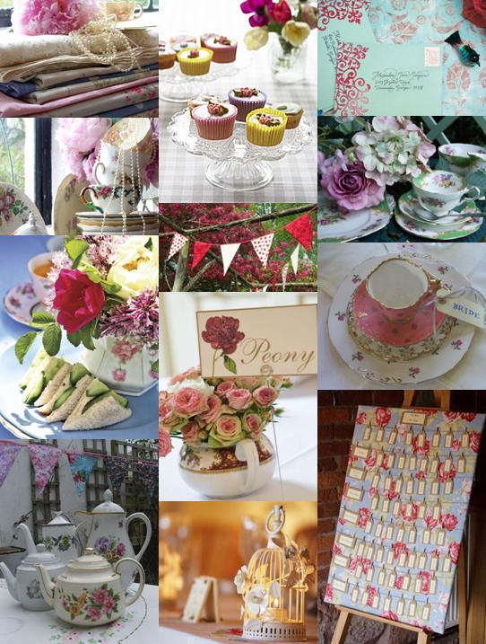 Wedding mood board showing ideas for a English Garden Party wedding theme