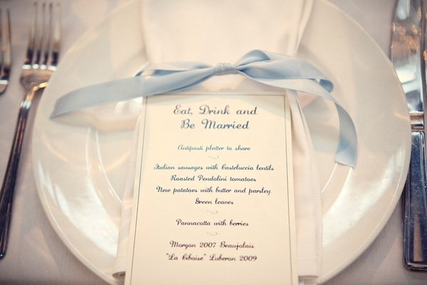 Picture of a wedding breakfast menu by Marianne Taylor Photography