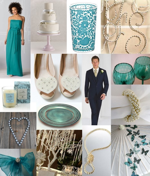 Mood board showing ideas for a teal and pearl wedding theme
