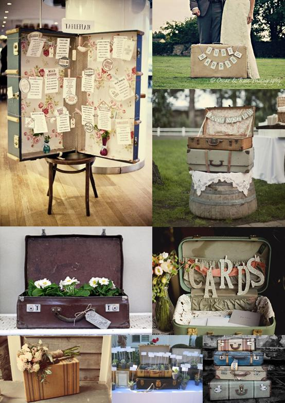 Wedding mood board showing ideas for wedding decorations using vintage suitcases