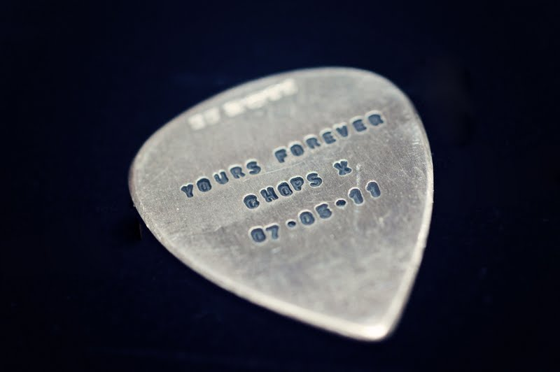 Engraved plectrum by Andrew J R Squires Photography