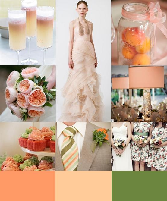 Peach and Green Wedding Colour
