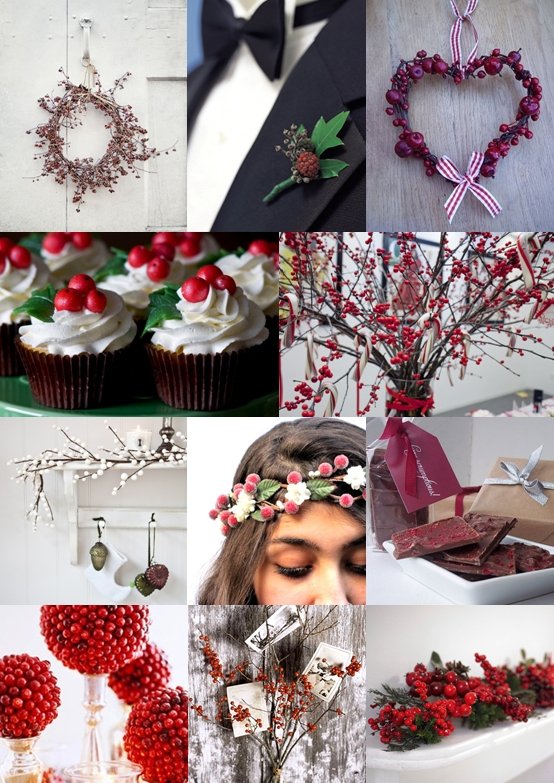 Berry Christmas Wedding Ideas Mood Board