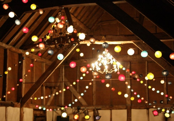 of string lights in colours that complement your wedding colour scheme