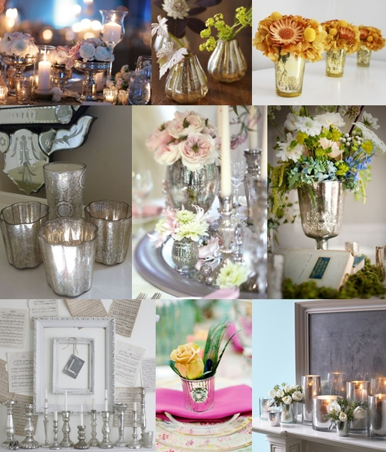 Here are some great ideas for using mercury glass in your wedding decor