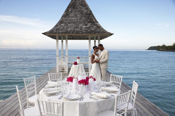 Caribbean wedding by sea
