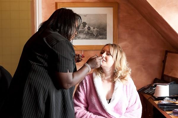 Trish Rawlins applying wedding makeup