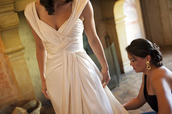 Bride wearing wedding dress - Picture by Gill Maheu Photography