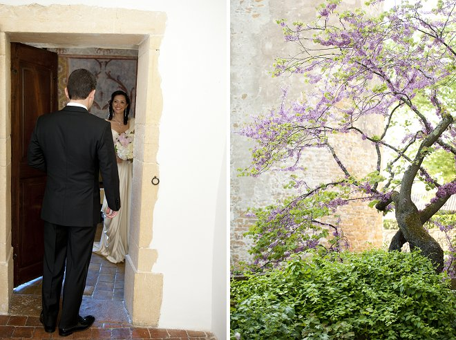 Groom seeing bride - Picture by Gill Maheu Photography