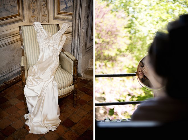 Wedding dress on chair and bride looking in mirror - Picture by Gill Maheu Photography