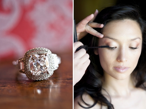 Large wedding ring and bride having mascara applied - Picture by Gill Maheu Photography