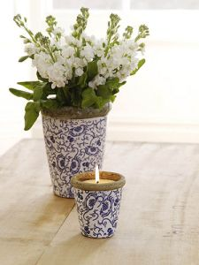 Blue Springflower Candle Pot from St Eval Candle Company