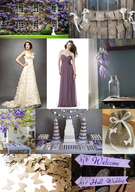 Wisteria and Butterfly Wedding Ideas Mood Board